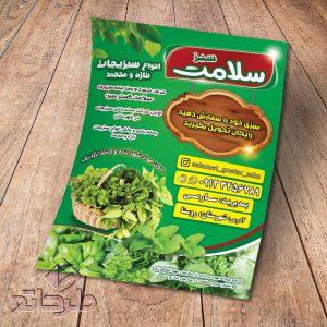 دانلود فایل فتوشاپ لایه باز طرح تراکت سبزیجات آماده