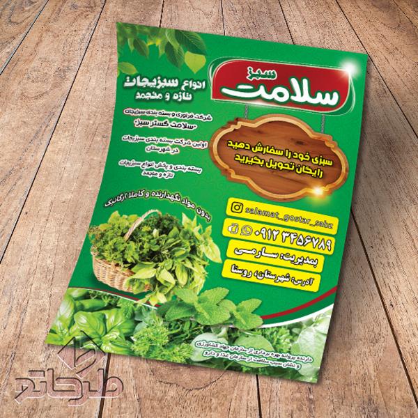 دانلود فایل فتوشاپ لایه باز طرح تراکت سبزیجات آماده | نمونه 1