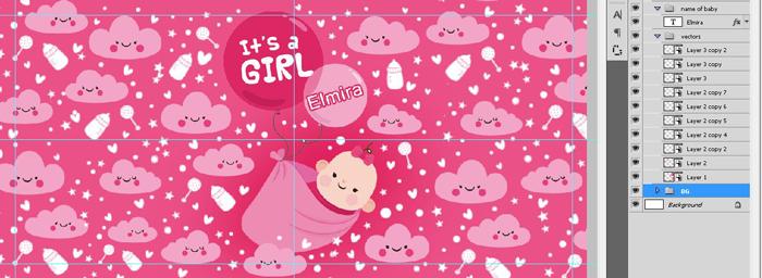 فایل فتوشاپ ماگ نوزاد دختر
